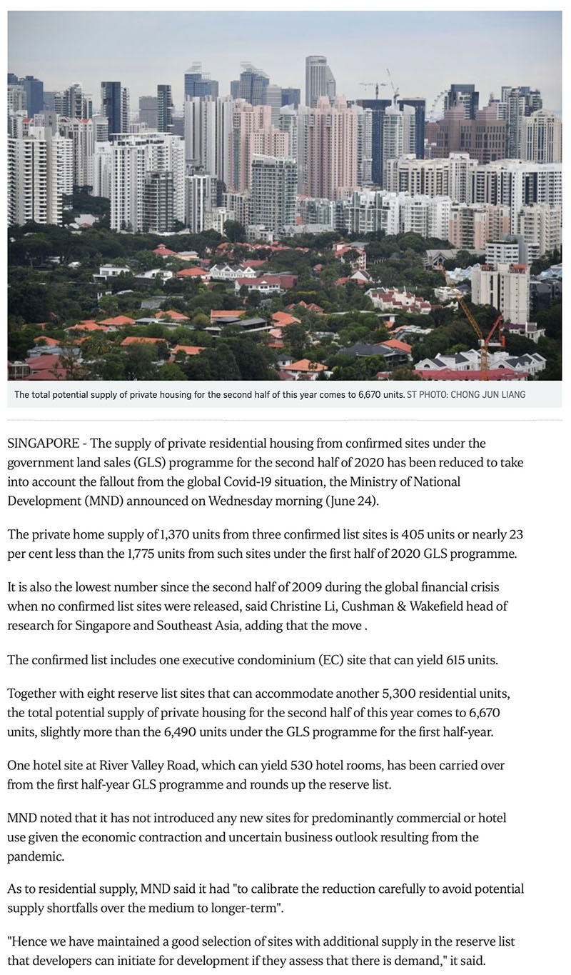 Forett at Bukit Timah - Govt cuts private housing supply from confirmed land sale sites due to Covid-19 fallout Part 1
