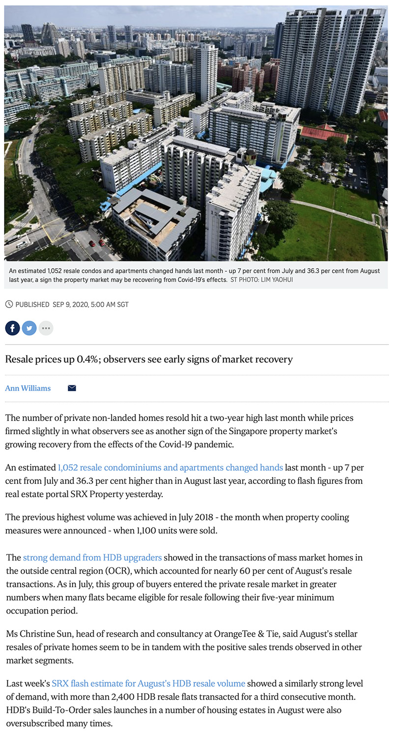 Forett at Bukit Timah - Private home resale volume hits 2-year high in Aug: SRX 1