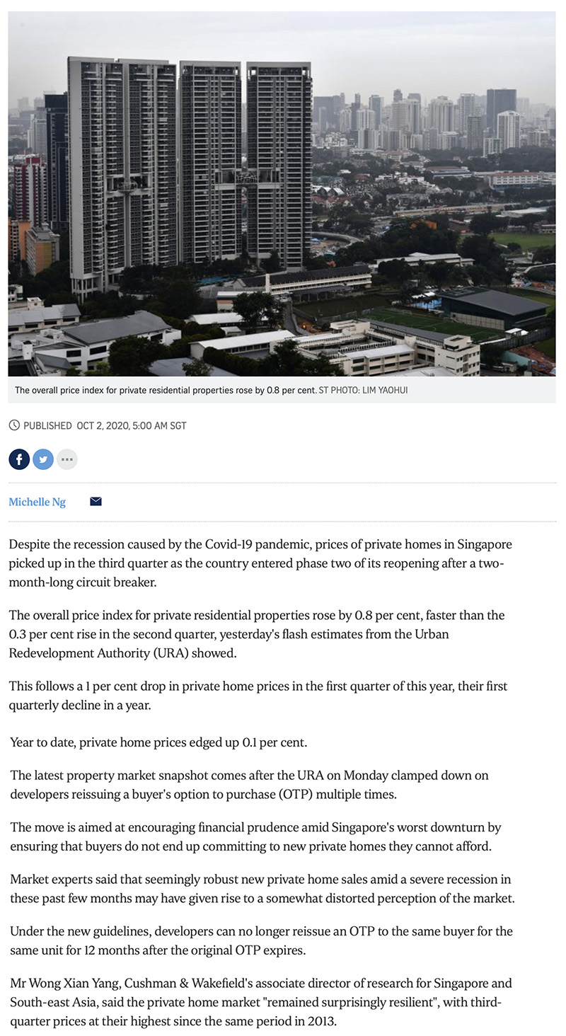 Forett at Bukit Timah - Private home prices rise faster in Q3 despite Covid-19 recession 1